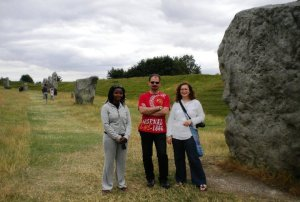 Njeri, Bulent and Shezza at Avebury in summer 2010.