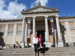 In front of the main entrance of the Ashmolean Museum.