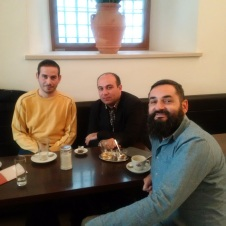 Ayman, Davit and Costas enjoying tea