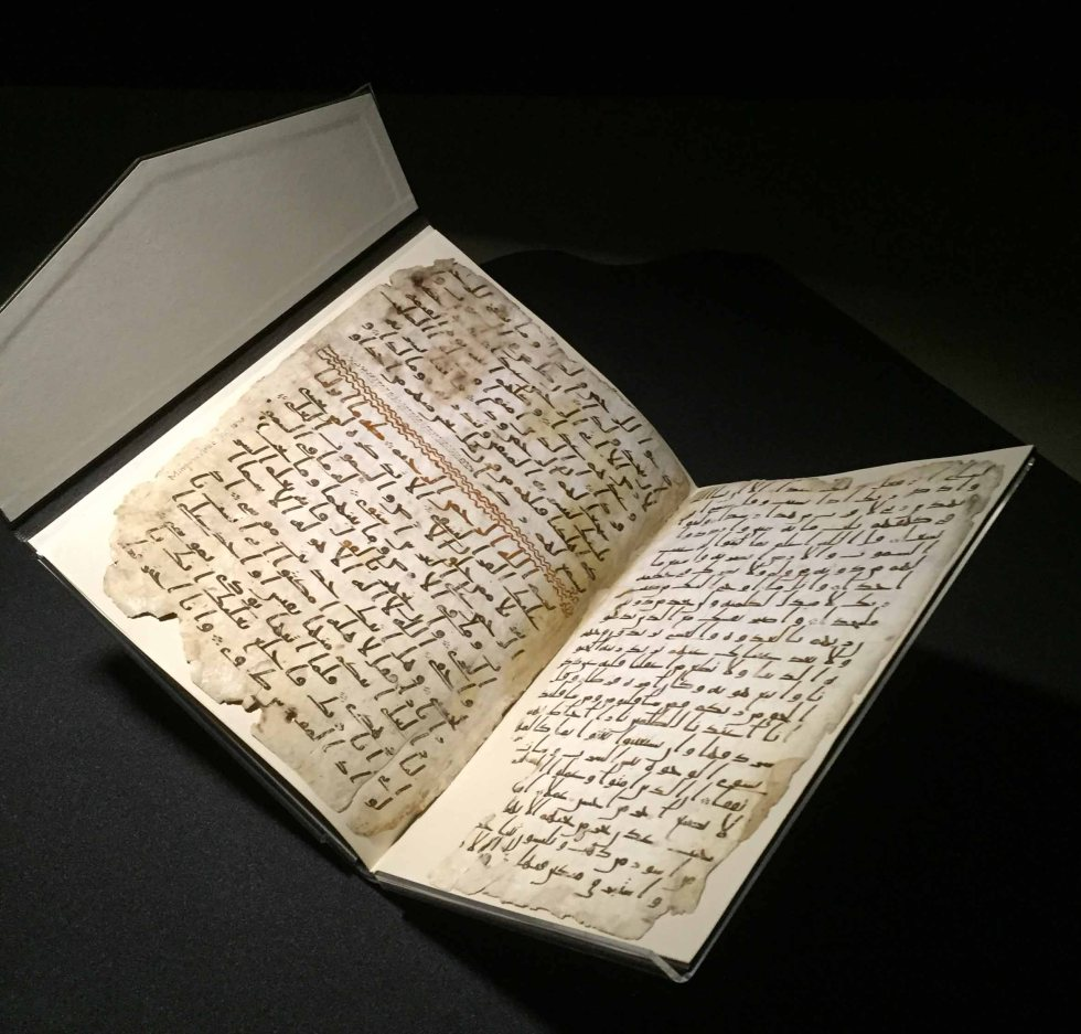 The Birmingham Quran, on loan from the University of Birmingham, is a fragment of a 7th century Qur'an manuscript, one of the oldest surviving in the world.  CREDIT: © University of Birmingham (Cadbury Research Library MS 1572a)