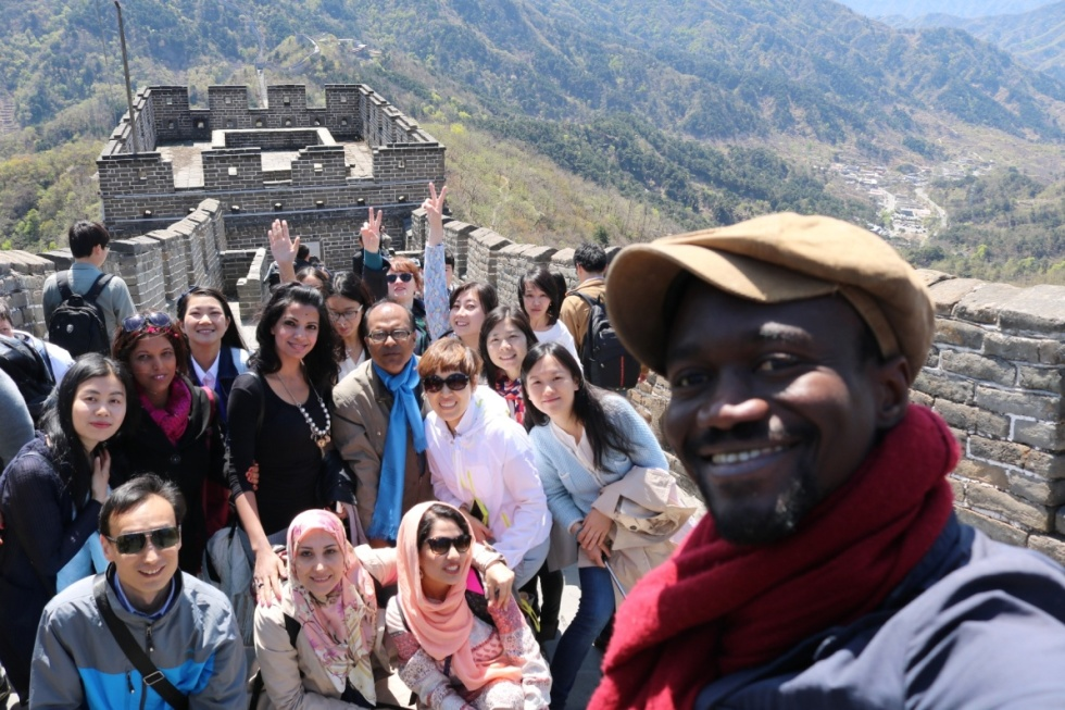 During the visit to the Great Wall of China. Photographs author's own.